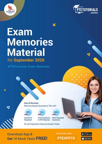 PTE Exam Memories Material for September 2020