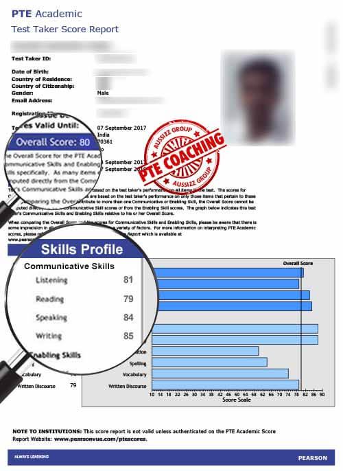 PTE Exam result